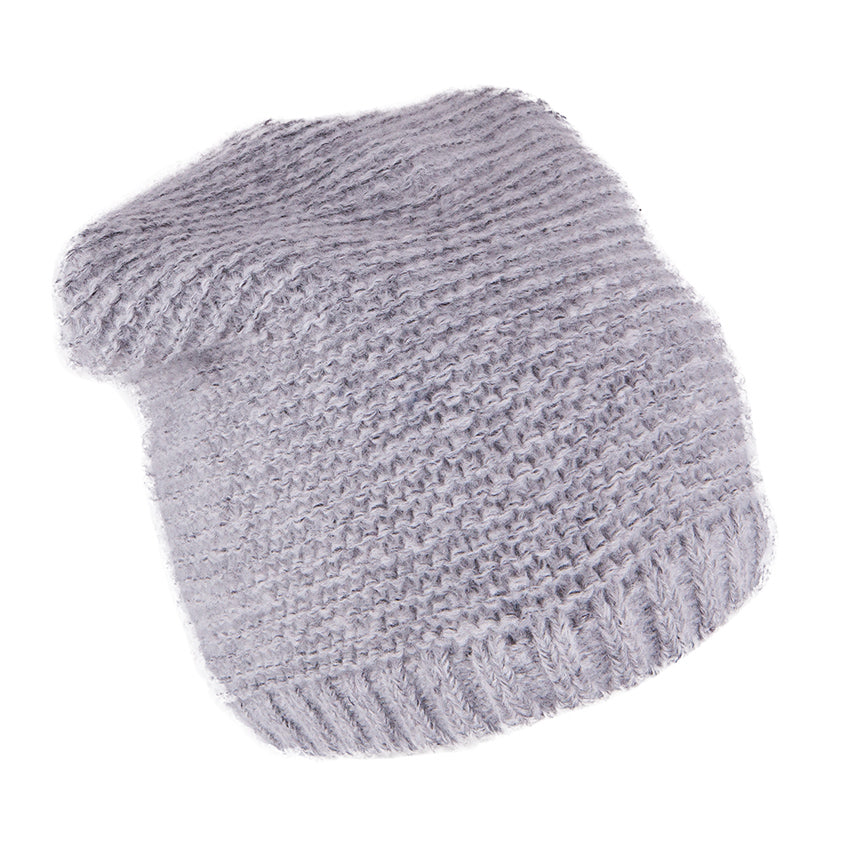 Knit Hat Grey with Snood 3-004422