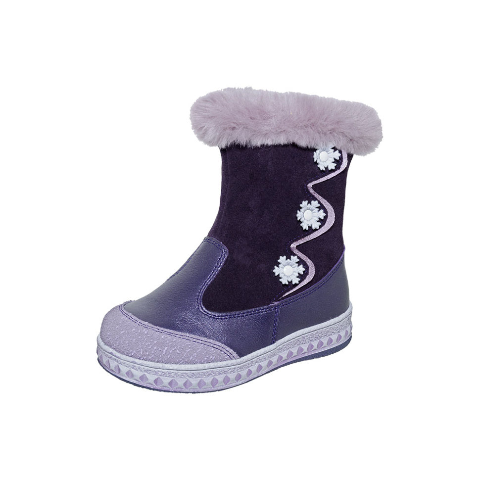 Winter Snowflake Purple With Fur Top 3-1085