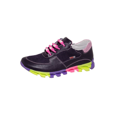Fall/Spring Leather Running Shoe Child Dark Purple 4-1020