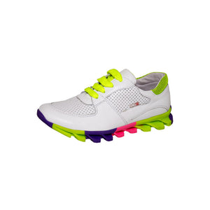 Fall/Spring Leather Running Shoe Child White 4-1020