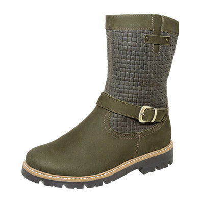 Winter Woven Pattern Buckle Boots Olive 4-1114