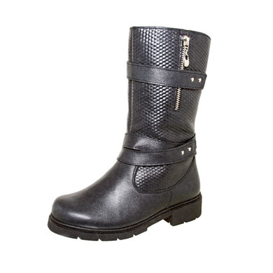 Winter Woven Pattern With Double Strap Boots 4-1124