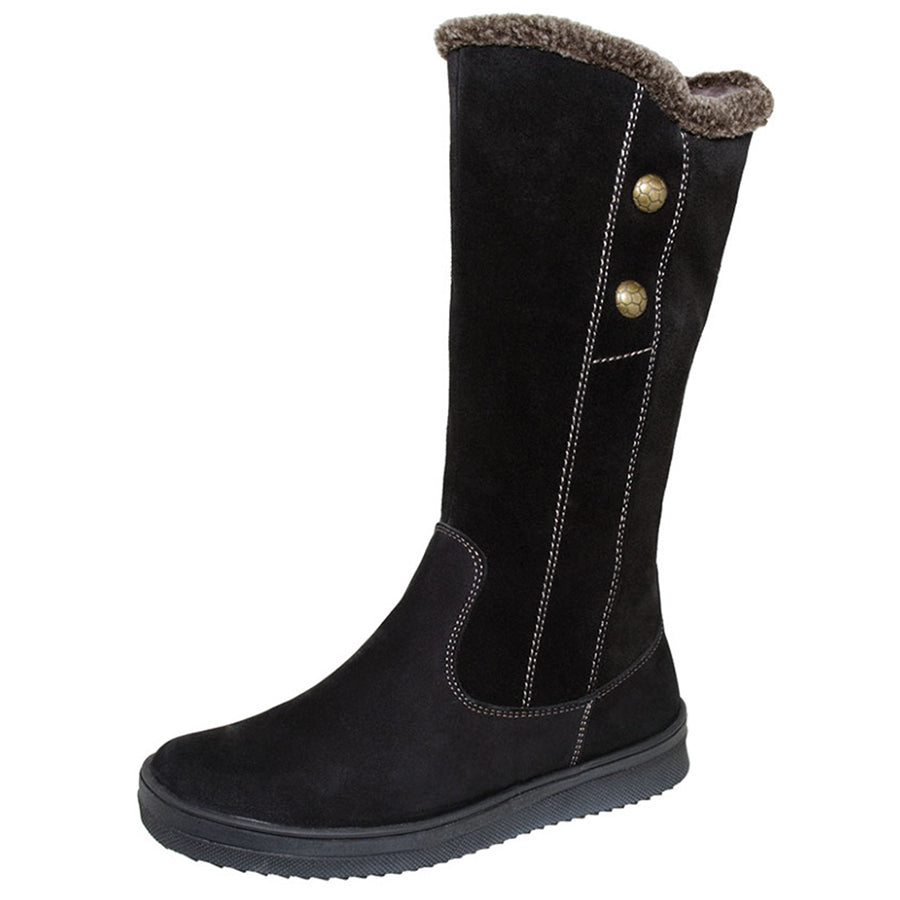 Winter 2 Button Tall Boot Black 4-1145