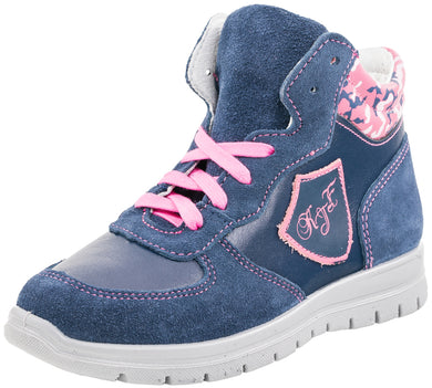 Fall/Spring Girls Running Shoe with Zipper Blue/Pink Youth 652060-21
