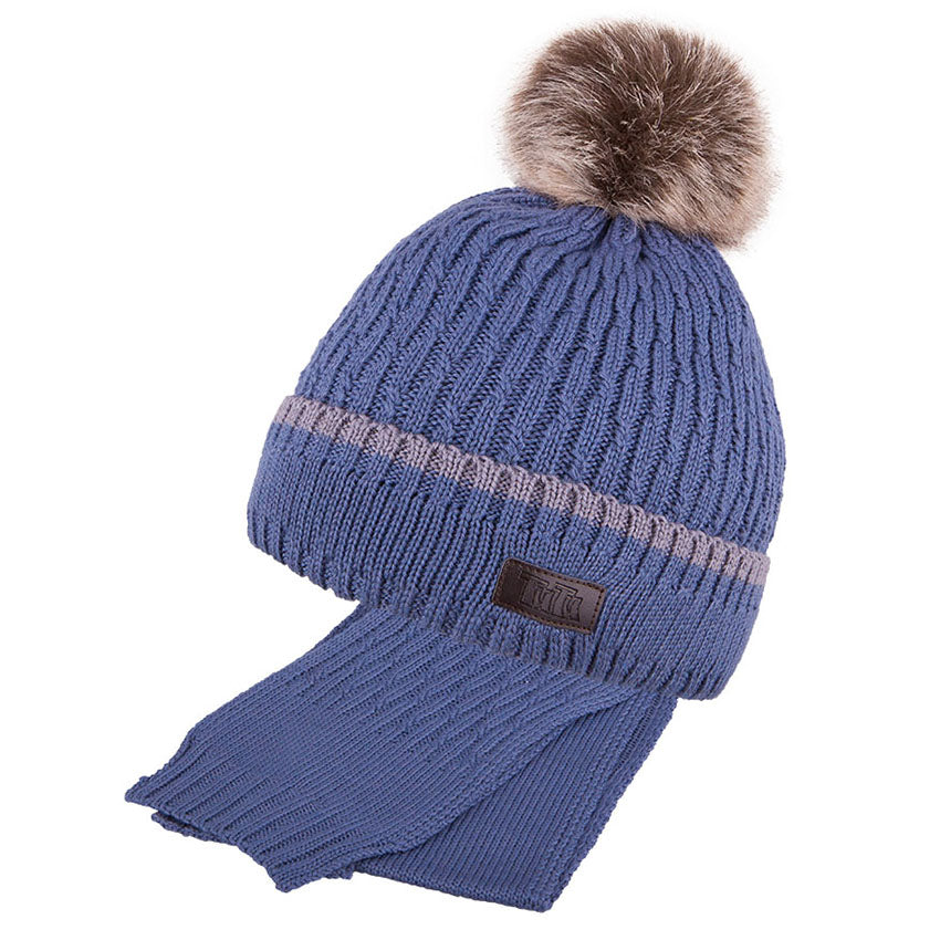 Winter Hat and Scarf Combo Merino Wool Blue 5-000107