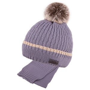 Winter Hat and Scarf Combo Merino Wool Grey 5-000107