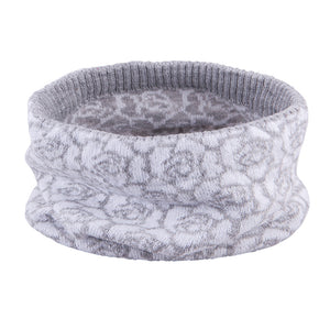 Knit Hat and Snood Scarf Fall/Spring Flowers White 5-000125