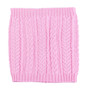 Knit Hat (Raccoon Pompom) with Ties and Snood Scarf Merino Wool Pink 5-000132