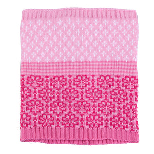 Knit Hat with Ties and Snood Scarf Bright Pink 5-000134