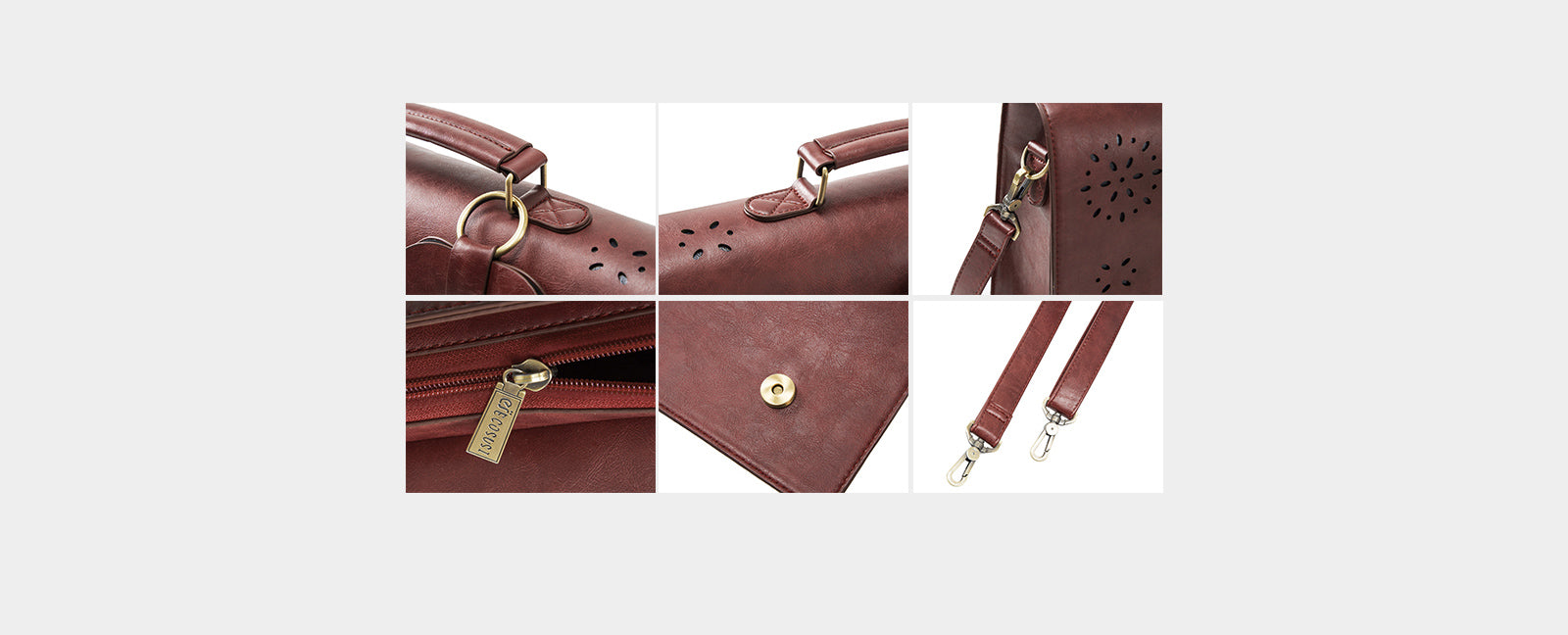 Ladies PU Leather Laptop Bag Briefcase Crossbody Messenger Bags Satchel Purse Fit 14inch Laptop