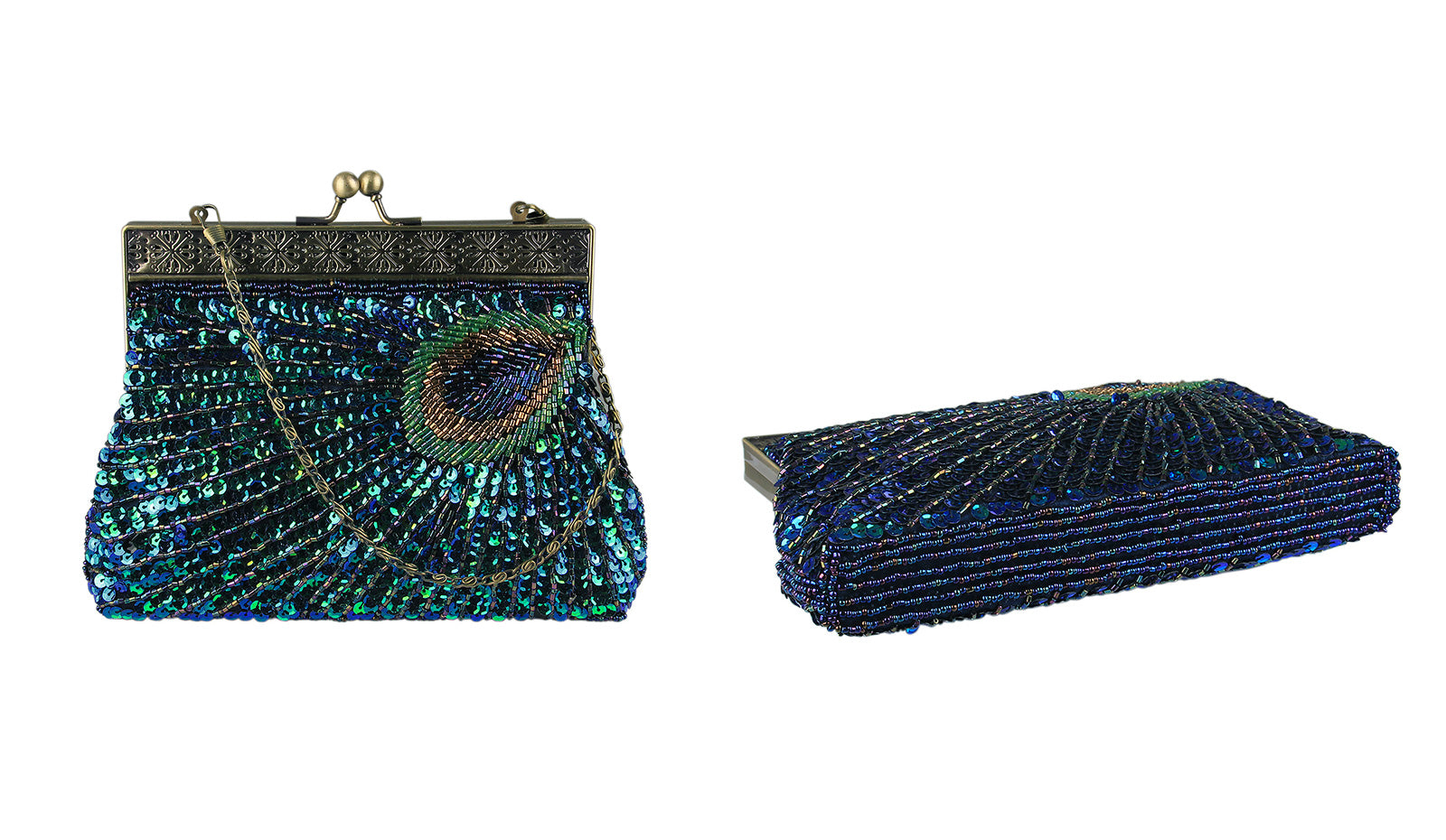 Vintage Clutch Teal Peacock Antique Beaded Sequin Evening Handbag Sunburst Navy and Turquoise Purse