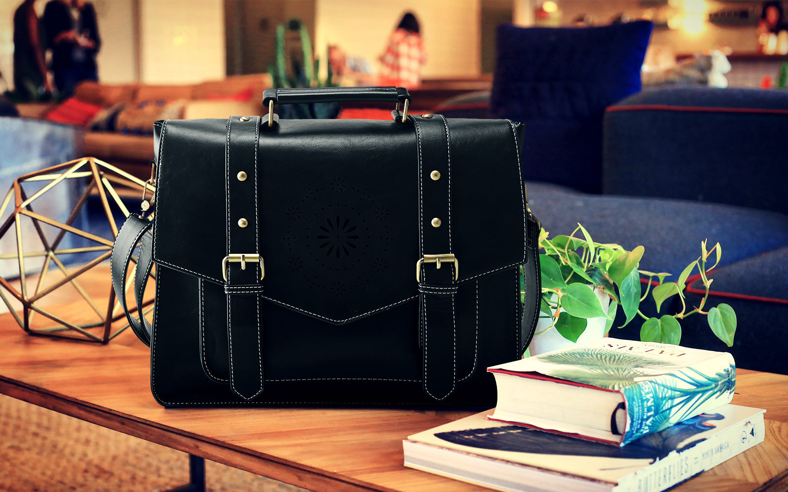 Women's PU Leather Tote Messenger Bag Crossbody Briefcase Fit 14.7 inch Laptop Hollowed-Out