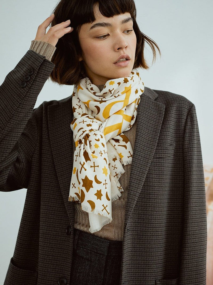Pretty Printed Wool Long Scarf