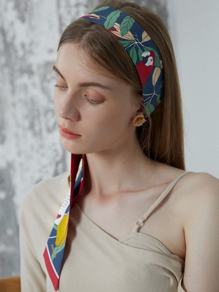 GACIA | Parrot Love Letter Printed Silk-twill Scarf
