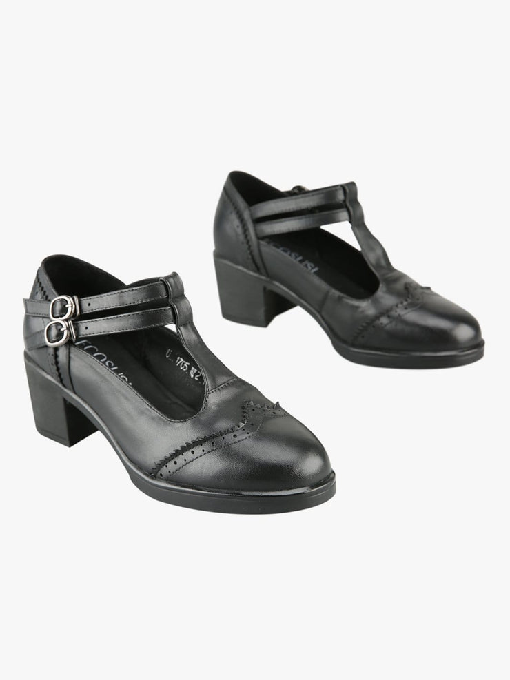 Women's Classic T-Strap Leather Shoes