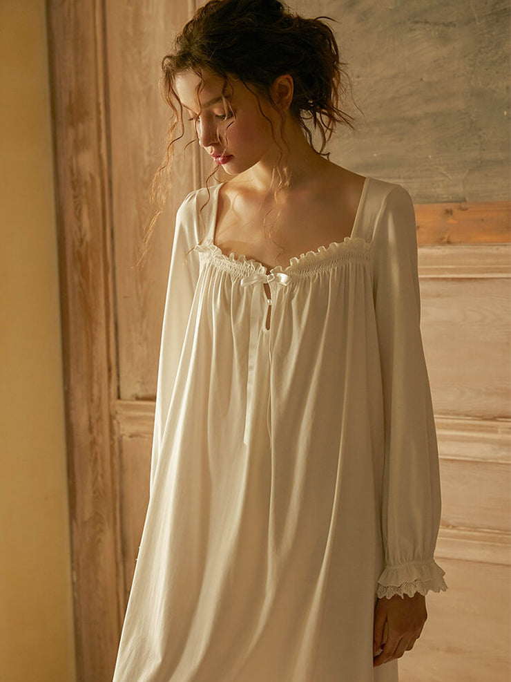 Long-sleeved knitted cotton princess nightdress