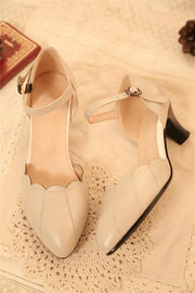Pointed Toe Kitten Heel Leather Shoes