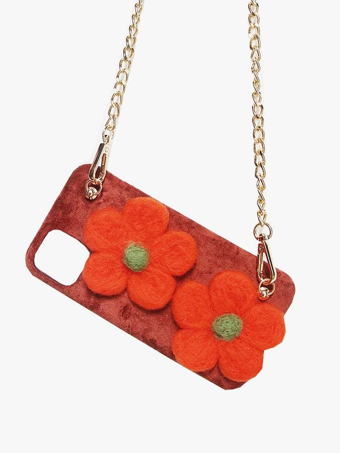Flannel wool felt flower pattern phone case