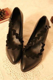 Vintage Leaves Pattern Belt Shoes