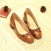 Square Toe Vintage Pumps with Bow