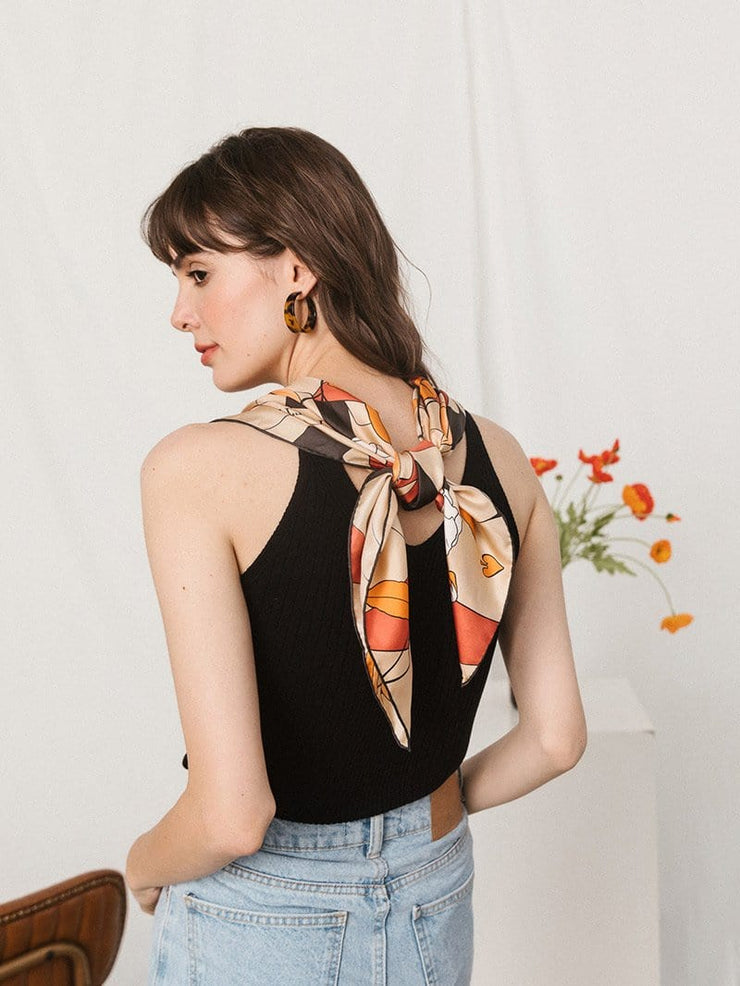 Card-print silk square scarf