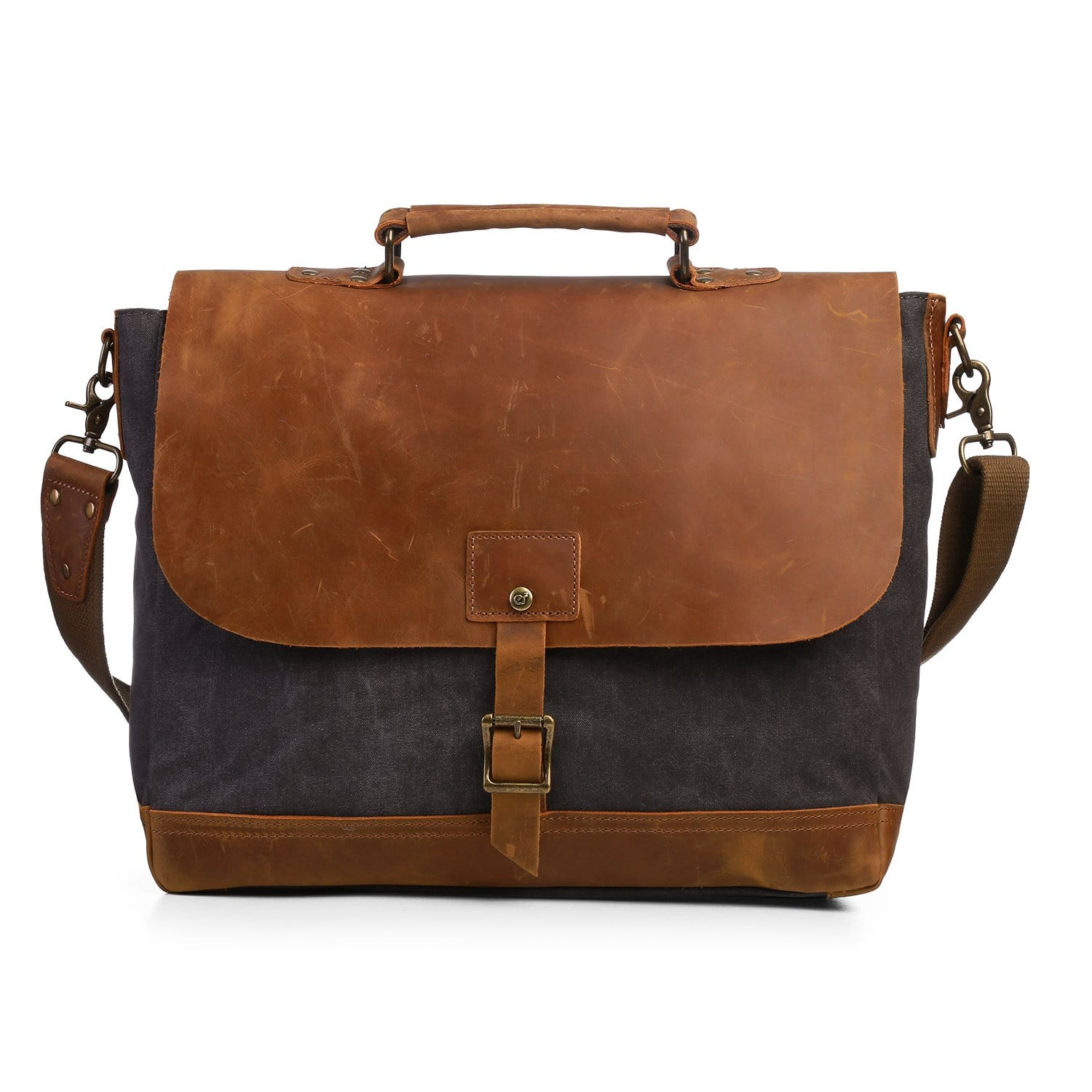 Canvas Laptop Bag Briefcase Business Handbag Messenger Shoulder Bag with  Padded Compartment for 15.6