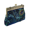 Vintage Clutch Teal Peacock Antique Beaded Sequin Evening Handbag Sunburst Navy and Turquoise Eye Catching Purse