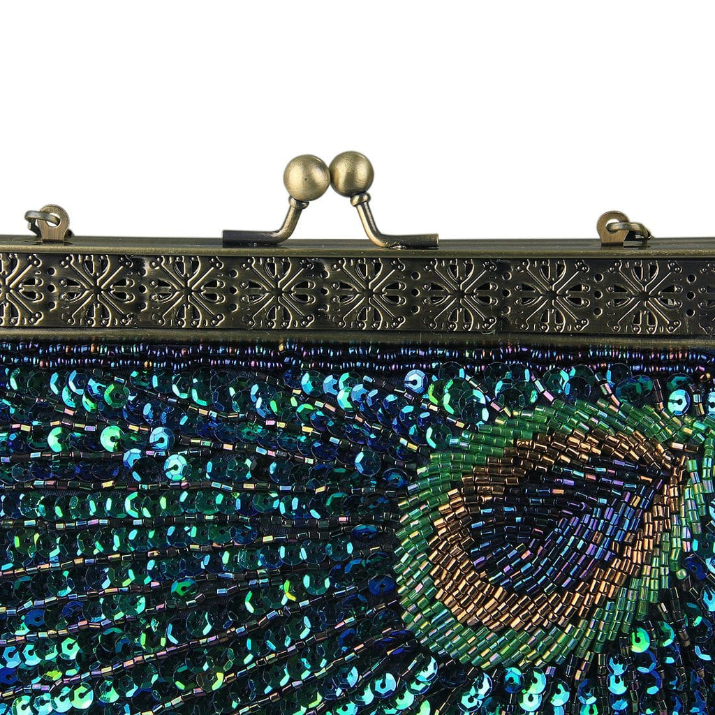 db32510b7b Women's Teal Peacock Antique Beaded Sequin Clutches | ECOSUSI