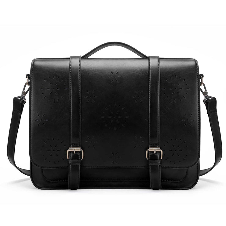 Vintage Women Briefcase PU Leather Laptop Backpack Shoulder Computer Bag Messenger Satchel fit 14.7 inch
