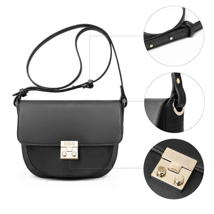 Women's Crossbody Saddle Bags Shoulder Purse with Flap Top & Phone Pocket
