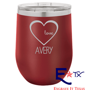 Love in My Heart Artwork on 12 oz. Wine Tumbler