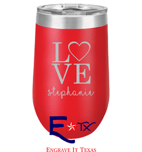 Love Artwork on 16 oz. Stemless Tumbler