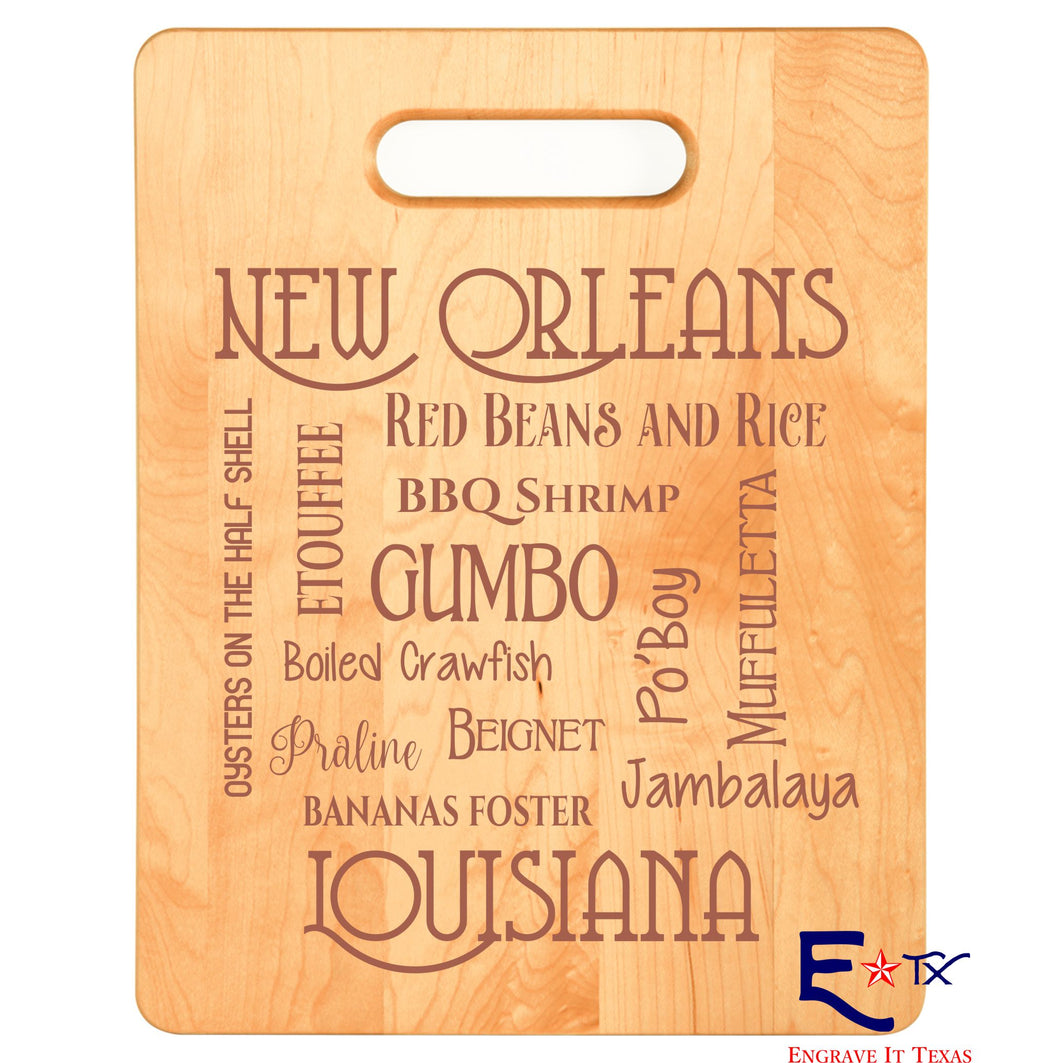 New Orleans Cuisine Maple Cutting Board
