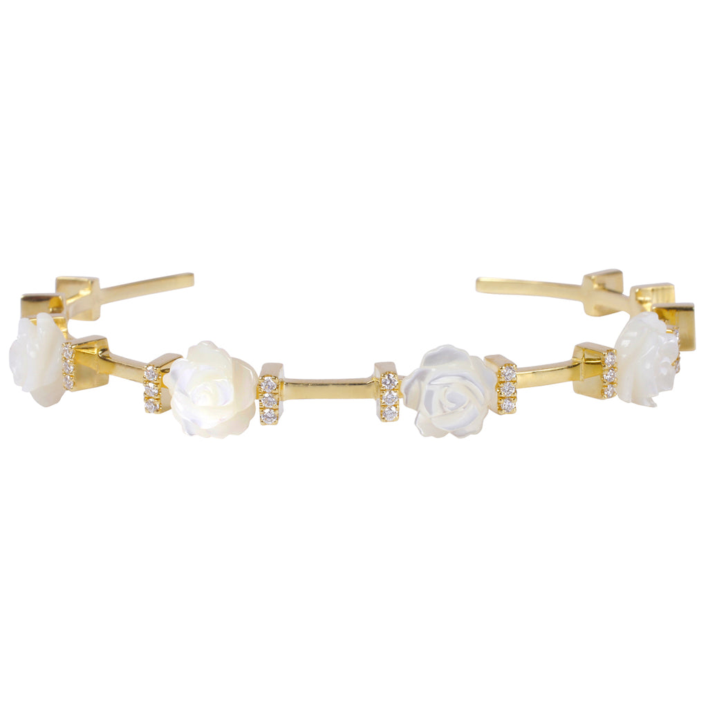 Rose Flower Diamond Bangle