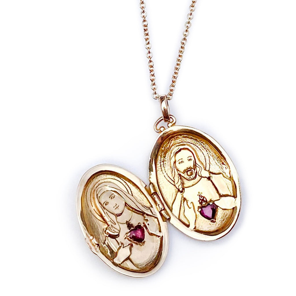 Jesus and Mary Locket Necklace