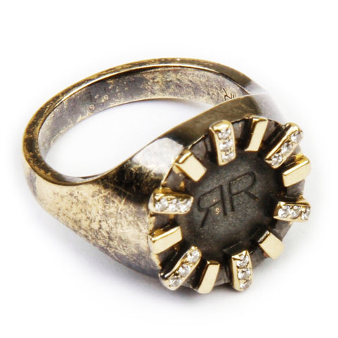 Black signet ring with diamonds