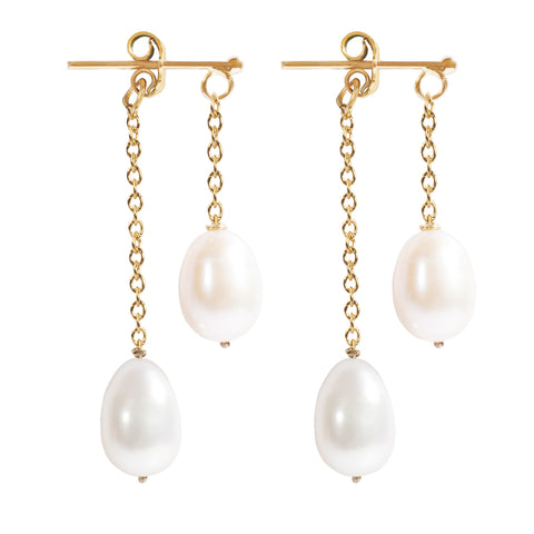 Chain Pearl Earrings