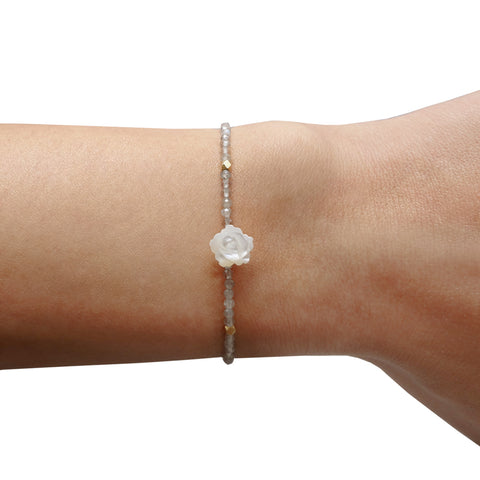 White Small Mother of Pearl Rose Bracelet