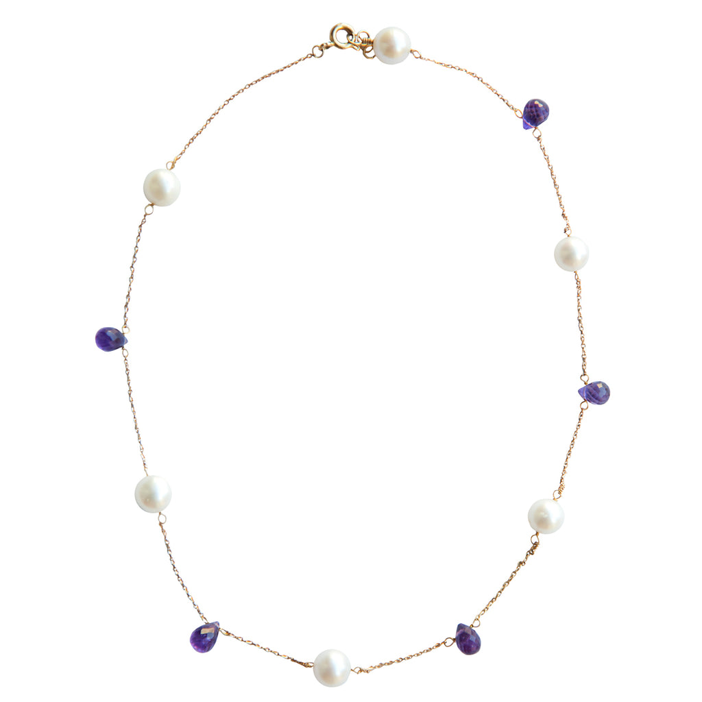 Purple Amethysts and Pearls Necklace