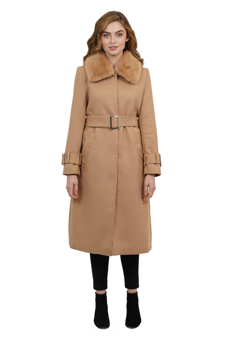 Sullivan Faux Fur Trimmed Puff Collar Skirted Jacket Coat w/ Belt