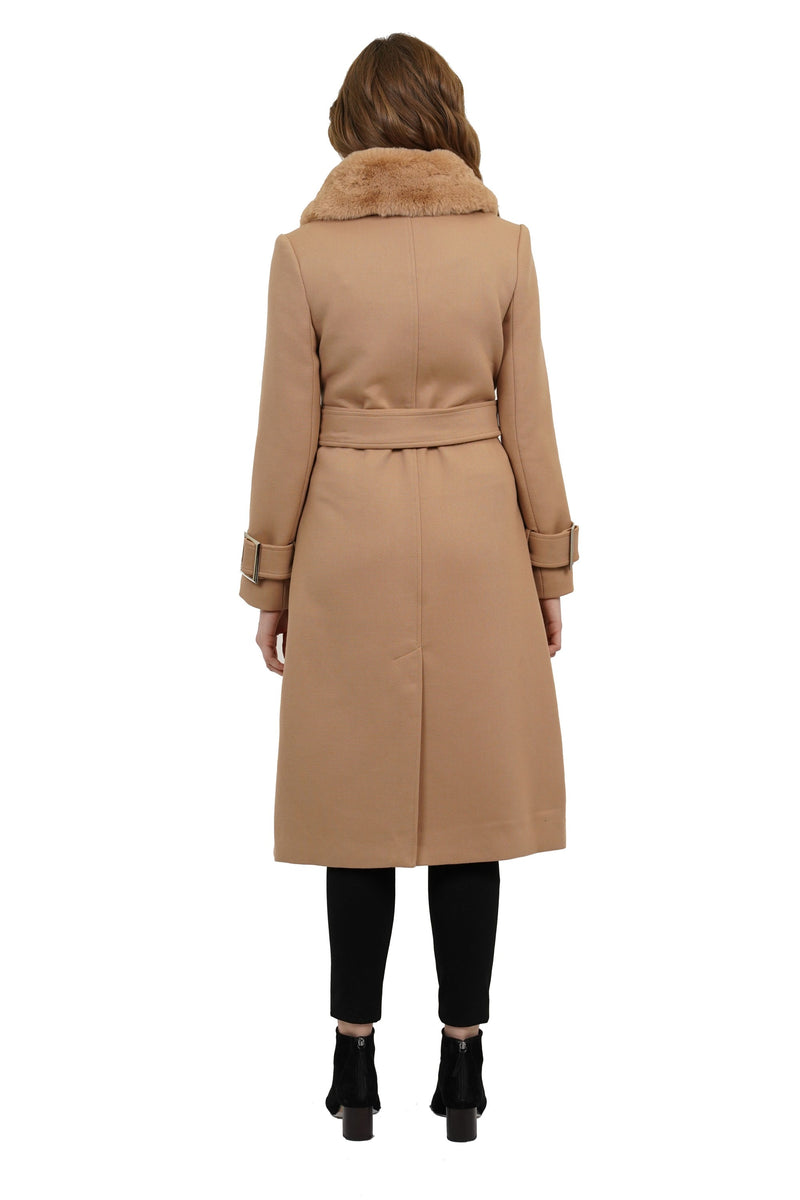 Sullivan Faux Fur Trimmed Puff Collar Skirted Jacket w/ Belt