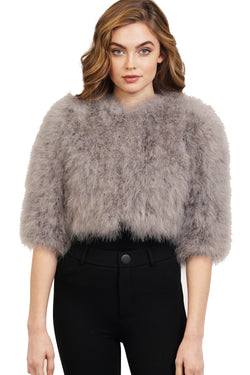 Leana Genuine Real Ostrich Fur Bolero Jacket Coat
