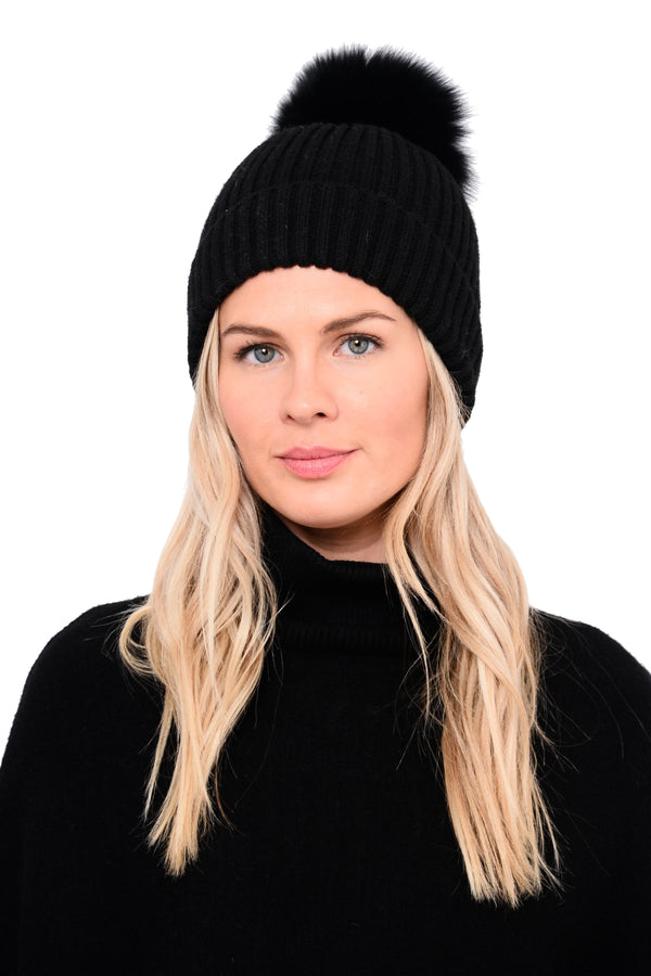 Ursa Pom-Pom Beanie w/ Genuine Real Rabbit Fur Pom