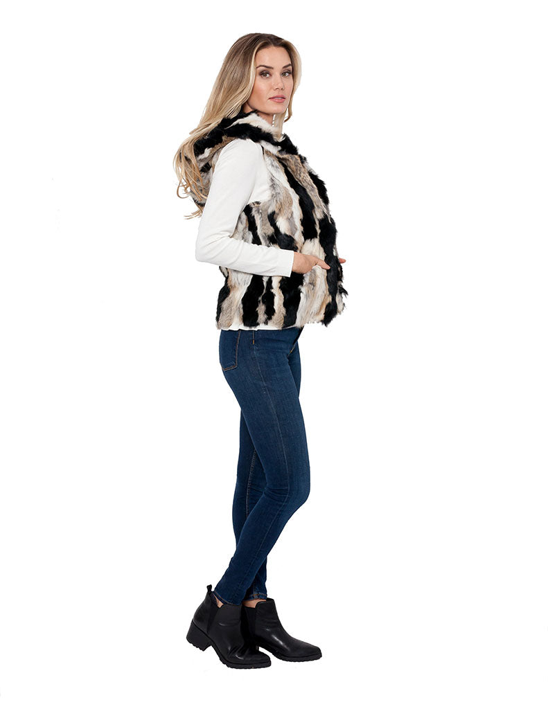 Angela Hooded Genuine Real Rabbit Fur Vest