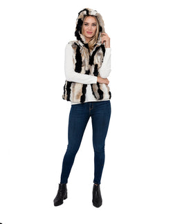 Angela Hooded Rabbit Fur Vest