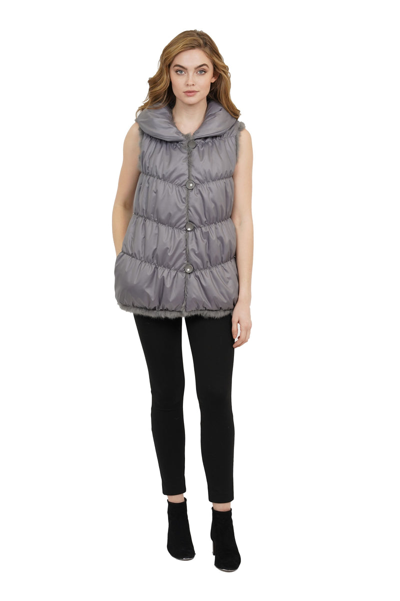Nastia Reversible Genuine Real Rabbit Fur Vest