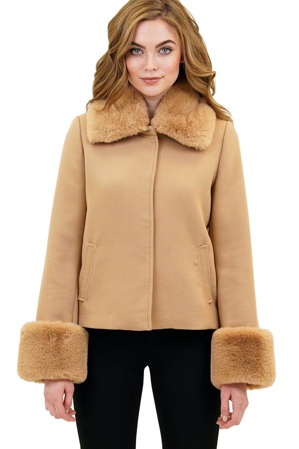 Reigh Faux Fur Trimmed Puff Collar Jacket Coat