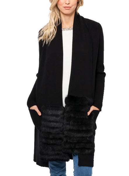 Miranda Knit Cardigan with Scarf + Rabbit Fur Trim