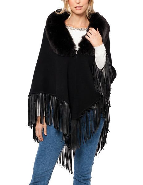 Jodie Fringe Poncho w/ Detachable Faux Fur Collar