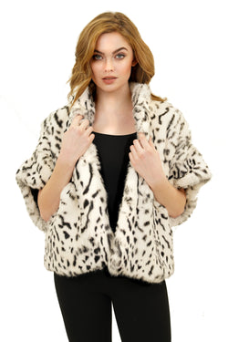 Leo Tiger Print Genuine Rabbit Fur Short Sleeve Jacket